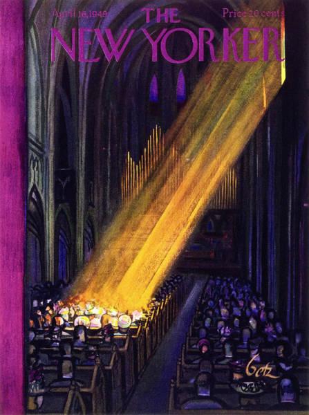 Church Painting - April 16 1949 by Arthur Getz