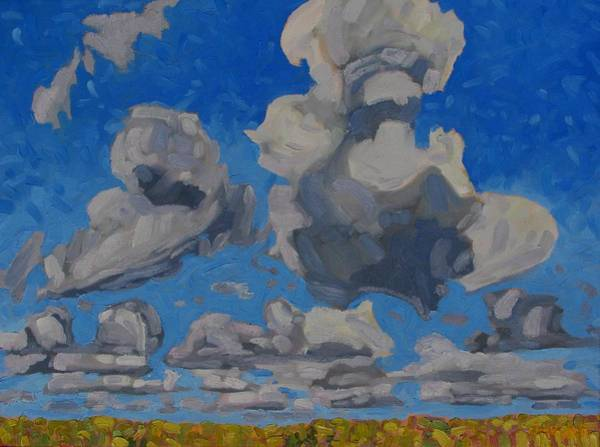 Watershed Painting - April Cumulus by Phil Chadwick