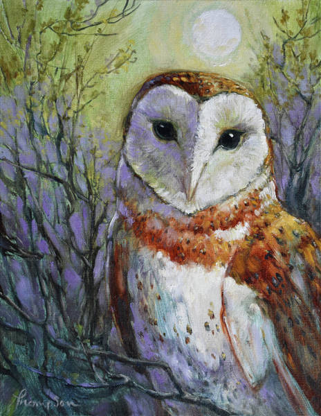 Barn Owl Painting - April Moonlight by Tracie Thompson