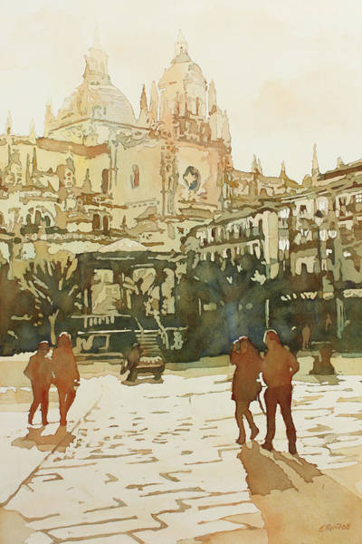 Painting - April On The Plaza Mayor by Jenny Armitage