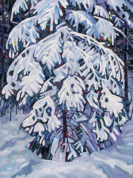 Canoeist Wall Art - Painting - April Snow by Phil Chadwick