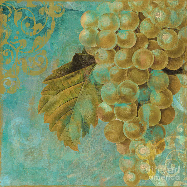 Gold Painting - Aqua And Gold Grapes by Mindy Sommers