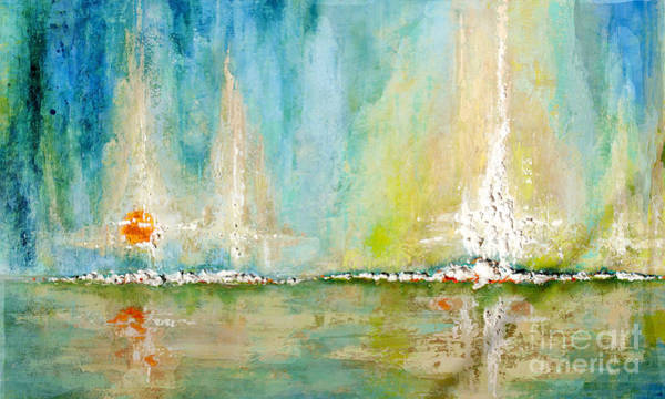 Painting - Aqua Bay Horizen by Kaata    Mrachek