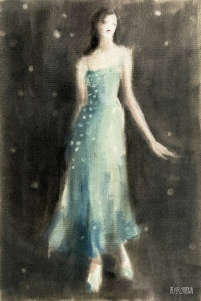Pastel Drawing Painting - Aqua Blue Evening Dress by Beverly Brown