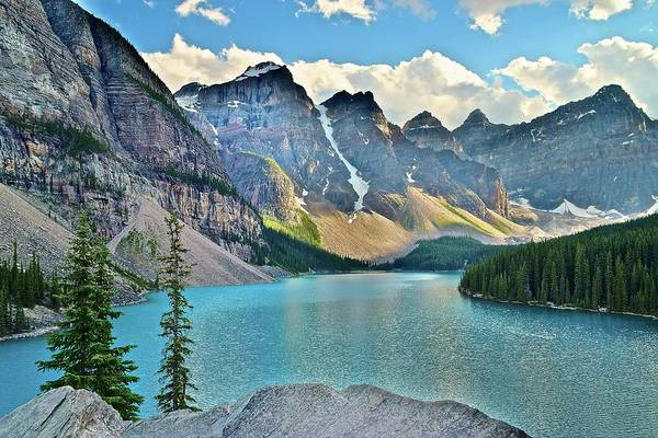 Wall Art - Photograph - Aqua Blue Moraine Lake by Frozen in Time Fine Art Photography