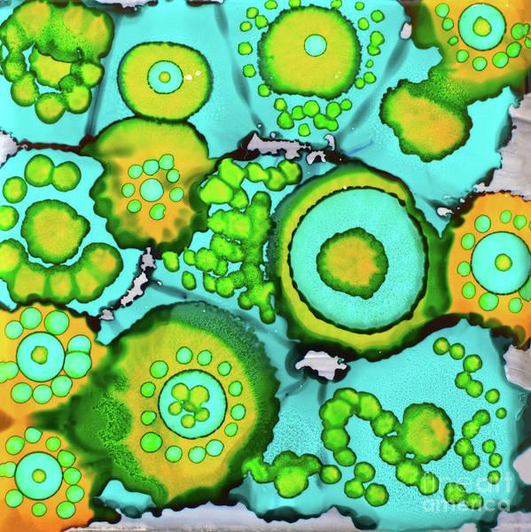 Pale Blue Dot Wall Art - Painting - Aqua Circles Of Fun by Christine Dekkers