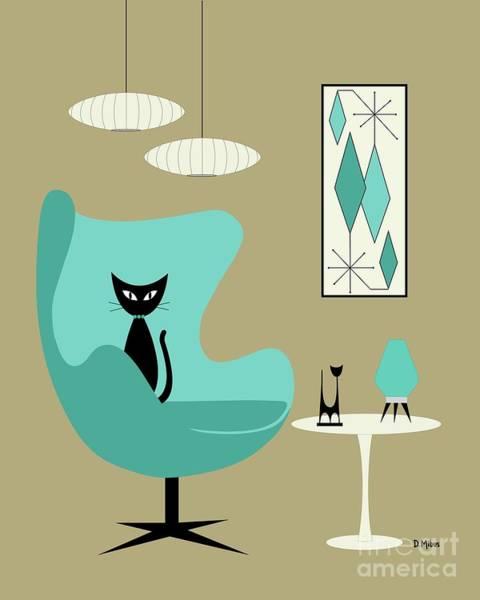 Digital Art - Aqua Egg Chair Tan Background by Donna Mibus