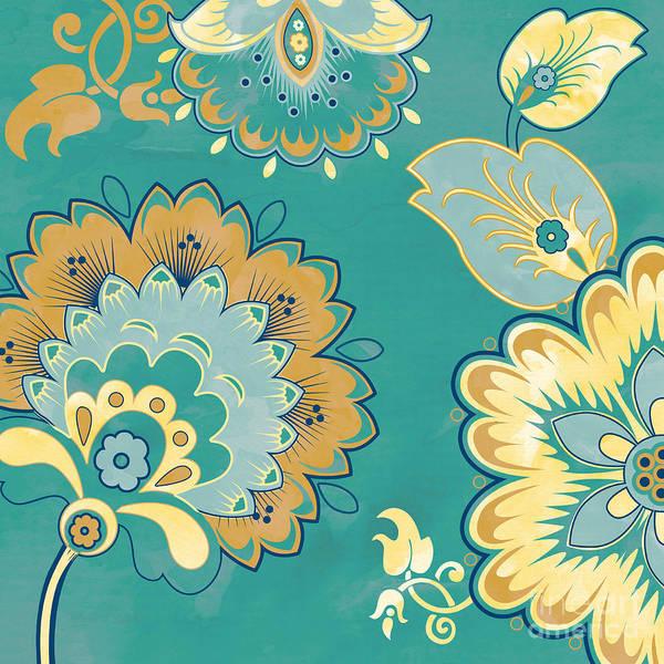 Yellow Ochre Painting - Aqua Florals-jp3639da by Jean Plout