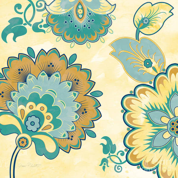 Yellow Ochre Painting - Aqua Florals-jp3639y by Jean Plout