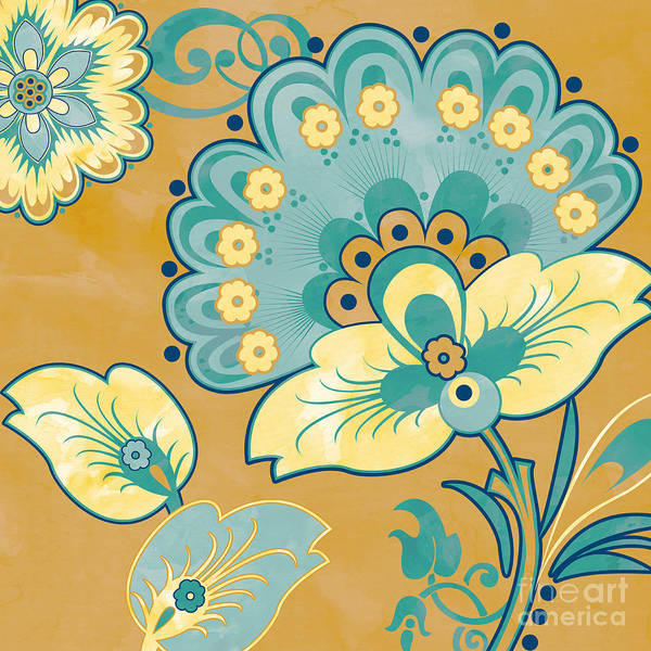 Yellow Ochre Painting - Aqua Florals-jp3640o by Jean Plout