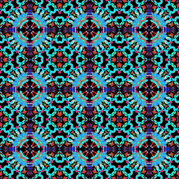 Digital Art - Aqua Geometric Mandala by Becky Herrera