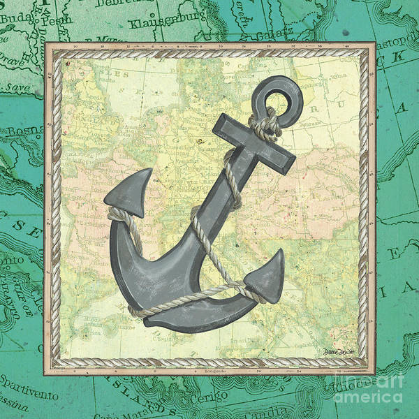 Naval Wall Art - Painting - Aqua Maritime Anchor by Debbie DeWitt