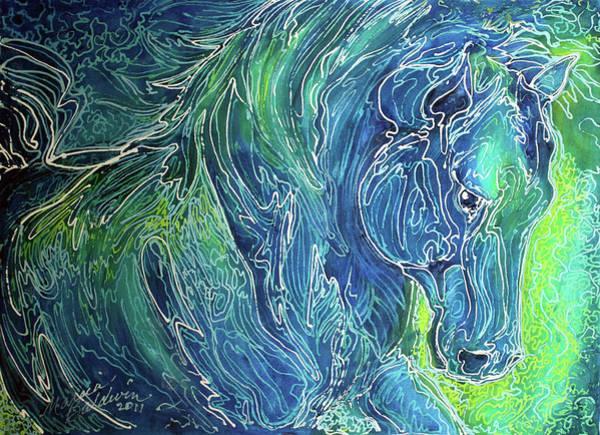 Painting - Aqua Mist Equine Abstract by Marcia Baldwin