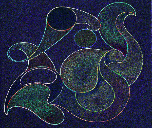 Interpret Drawing - Aqua Neonic by Lonnie Tapia