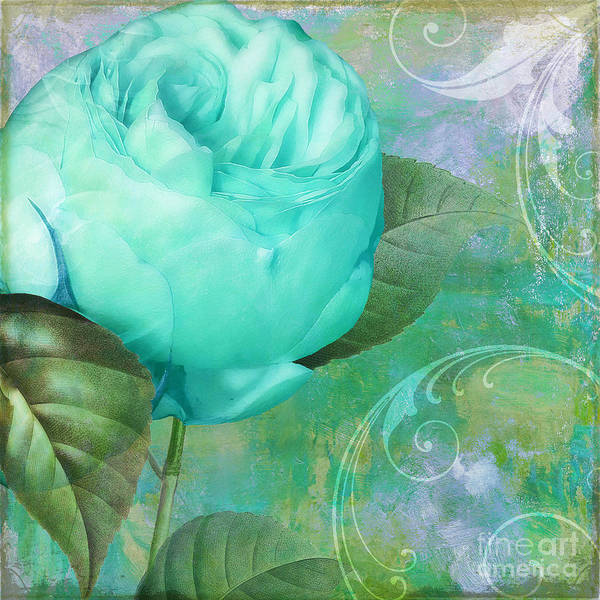 Electric Blues Painting - Aqua Rose by Mindy Sommers