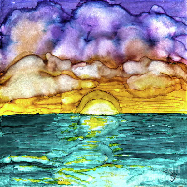 Painting - Aqua Sunset by Christine Dekkers