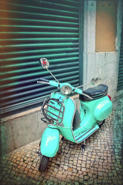 Wall Art - Photograph - Aqua Vespa Scooter In Lisbon Portugal  by Carol Japp