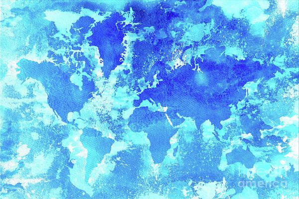 New Trend Digital Art - Aqua World Map by Zaira Dzhaubaeva