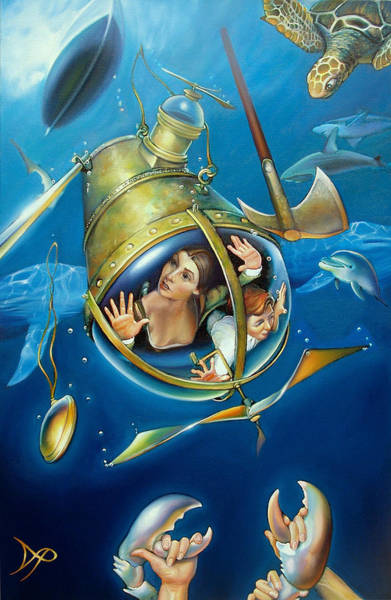 Pirates Painting - Aquaria Rising From Mask Of The Ancient Mariner by Patrick Anthony Pierson