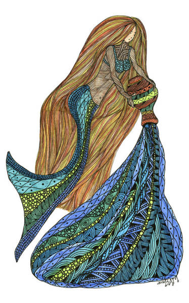 Drawing - Aquarius by Barbara McConoughey