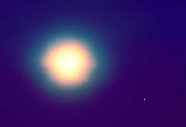 Photograph - Aquarius Full Moon With Mars by Judy Kennedy