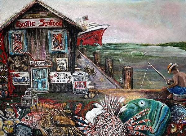 Wall Art - Painting - Aquatic Invasion by Laura Barbosa