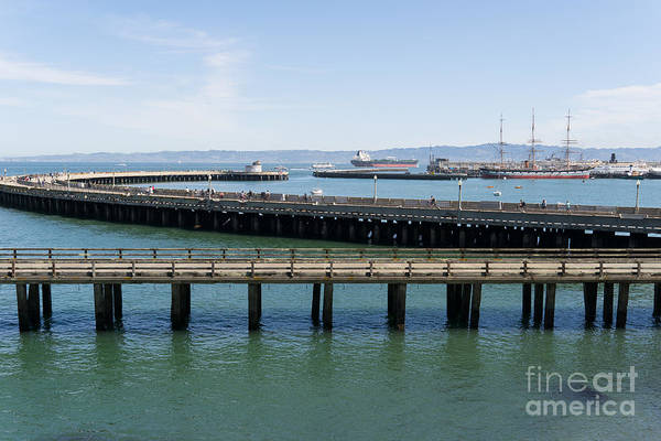 Photograph - Aquatic Park Pier Overlooking The Balclutha Cargo Ship At Hyde Street Pier San Francisco Dsc3183 by Wingsdomain Art and Photography