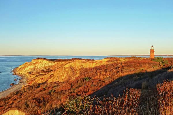 Photograph - Aquinnah Cliffs At Sunset Martha's Vineyard Cape Cod Gay Head Lighthouse by Toby McGuire