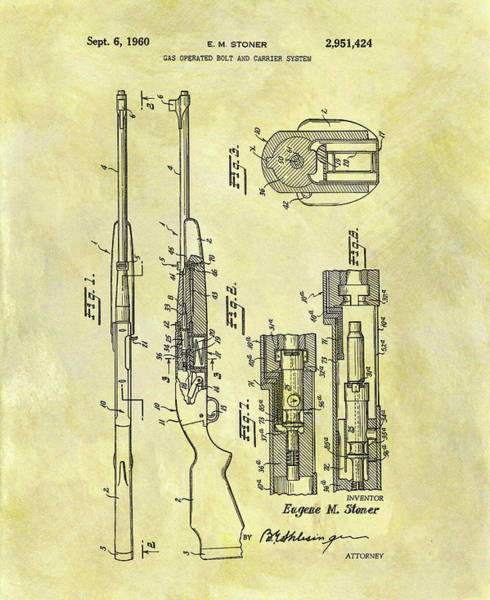 Wall Art - Mixed Media - Ar 15 Patent by Dan Sproul