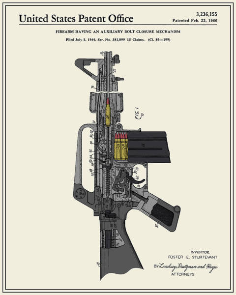 Ar 15 Wall Art - Digital Art - Ar-15 Semi-automatic Rifle Patent by Finlay McNevin