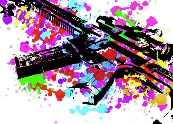 Assault Weapons Digital Art - Ar15 Pop Art by Ricky Barnard