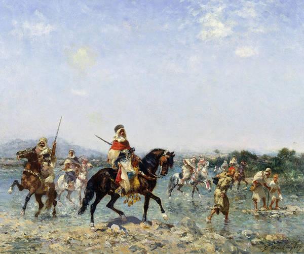 Arab Horse Painting - Arab Cavalry Fording A Stream by Georges Washington