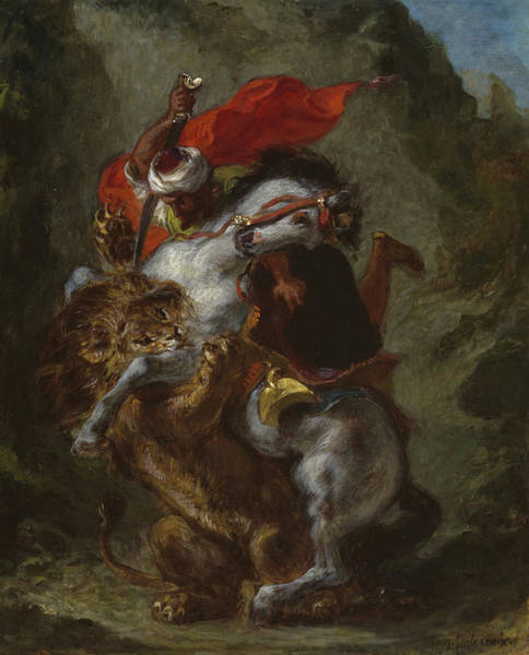 Struggle Painting - Arab Horseman Attacked By A Lion by Ferdinand Victor Eugene Delacroix