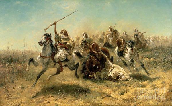Horseman Wall Art - Painting - Arab Horsemen On The Attack by Adolf Schreyer