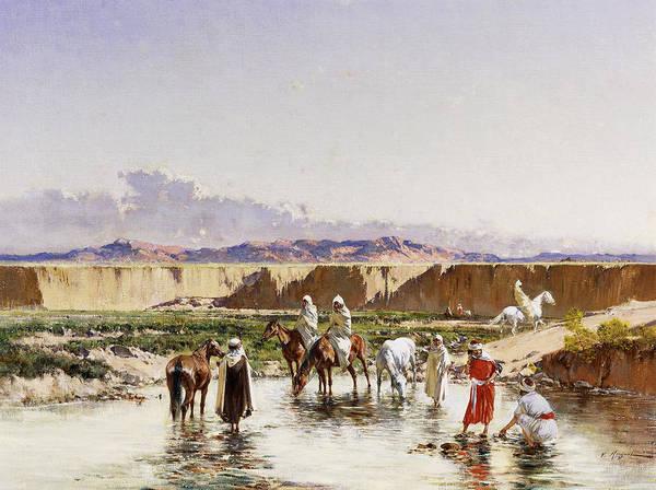 Horseman Wall Art - Painting - Arab Horsemen Watering In An Oasis by Victor-Pierre Huguet
