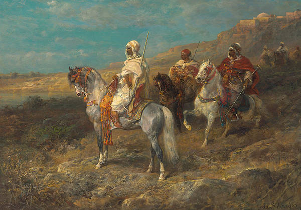 Grey Skies Wall Art - Painting - Arab On A White Horse by Adolf Schreyer