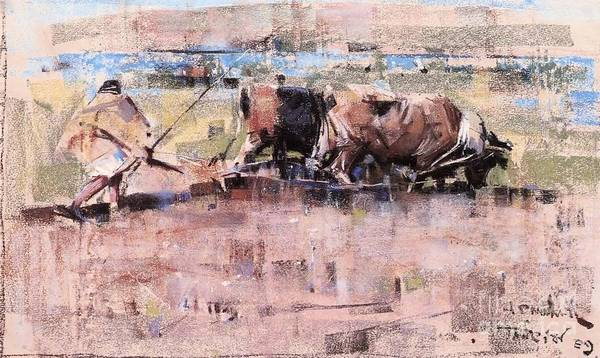Ploughing Painting - Arab Ploughing With Bullocks by MotionAge Designs