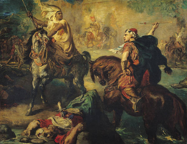 Wall Art - Painting - Arab Tribal Chiefs In Single Combat by Theodore Chasseriau