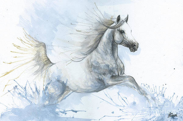 Wall Art - Painting - Arabian Horse In Blue 2017 08 03 by Angel Ciesniarska
