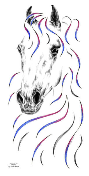 Equine Drawing - Arabian Horse Style by Kelli Swan