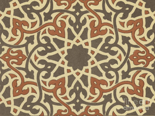 Arabian Drawing - Arabian-moresque, Mosaic Textile Pattern by Arabian School