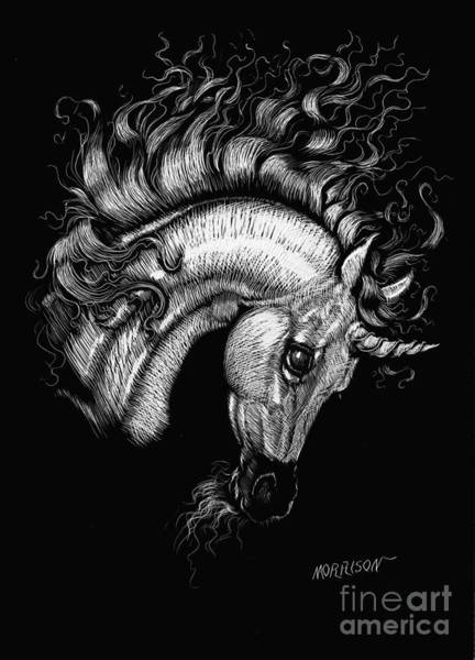 Fantasy Horse Wall Art - Drawing - Arabian Unicorn 2 by Stanley Morrison
