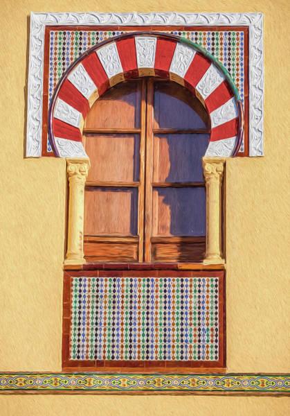 Spanish Wine Painting - Arabic Window Of Spain by David Letts