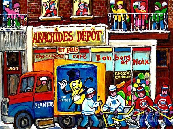 Painting - Arachides Depot Candy Shop Painting Rue De L'eglise Verdun Montreal Hockey Art Carole Spandau        by Carole Spandau