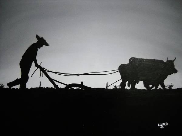 Blanco Y Negro Wall Art - Painting - Arando Con Bueyes by Edwin Alverio