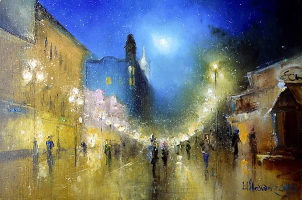 Painting - Arbat Night Lights by Igor Medvedev