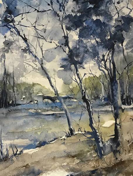 Painting - Arbres Bleus     Blue Trees by Robin Miller-Bookhout