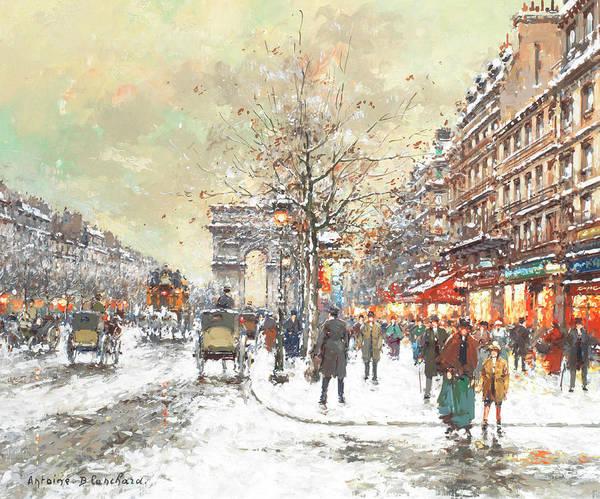 Arc Wall Art - Painting - Arc De Triomphe, Avenue Champs-elysees, Paris by Antoine Blanchard