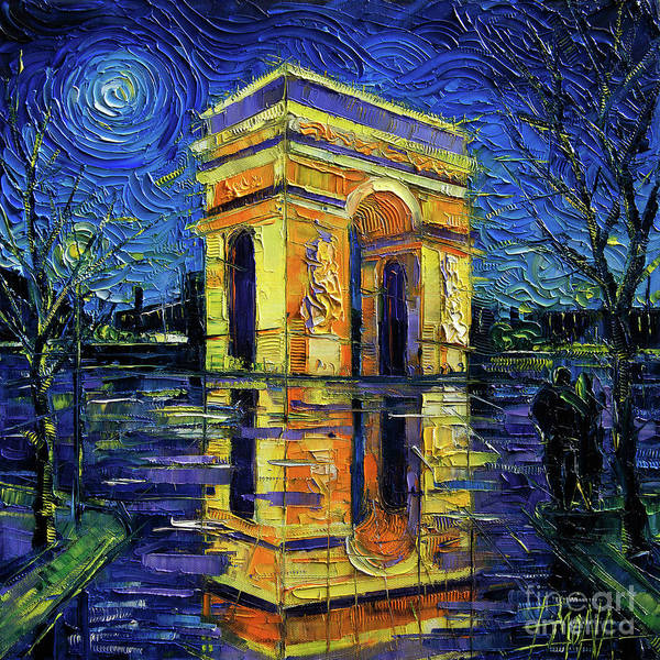 Wall Art - Painting - Arc De Triomphe Paris Mirroring Modern Impressionist Impasto Cityscape Oil Painting by Mona Edulesco