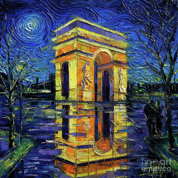 Reflecting Painting - Arc De Triomphe Paris Mirroring Modern Impressionist Impasto Cityscape Oil Painting by Mona Edulesco